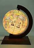 Глобус політико-фізичний Glowala 250 мм в дерев'яній оправі з підсвічуванням, фото 4