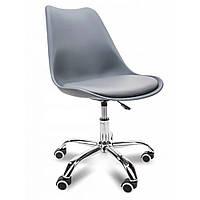 Кресло офисное без подлокотников кожзам стул с металлической опорой с прорезиненными колесами серый