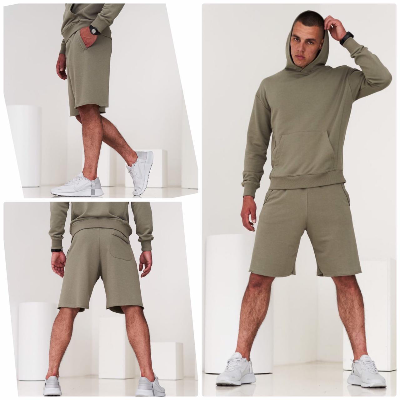 Чоловічий комплект (худі + шорти) чоловічий. Стильний спортивний костюм чоловічий толстовка шорти