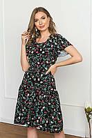 """Літнє плаття з софта вільного силуету з рукавом """"волан"""", в квітковий принт. Чорного кольору, фото 1"""