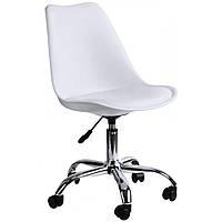 Офисное кресло полипропилен + сиденье из экокожи стул в офис с прорезиненными колесами белый