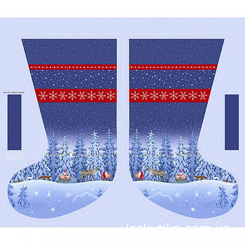 62010 Сапожище (купон). Ткань с новогодним рисунком. Ткани для декора и рукоделия.