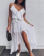 Легкое летнее платье ассиметричного кроя на тонких бретелях, 00953 (Белый), Размер 42 (S), фото 2