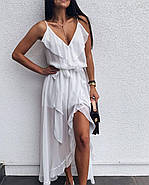 Легкое летнее платье ассиметричного кроя на тонких бретелях, 00953 (Белый), Размер 42 (S), фото 3
