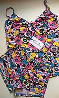 Пижама летняя -  майка с шортиками в цветочном принте