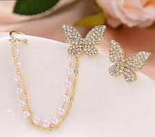 Модные серьги каффы бабочки с цепочкой, 2 варианта ношения
