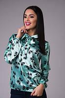 Блуза женская атласная с принтом бантик