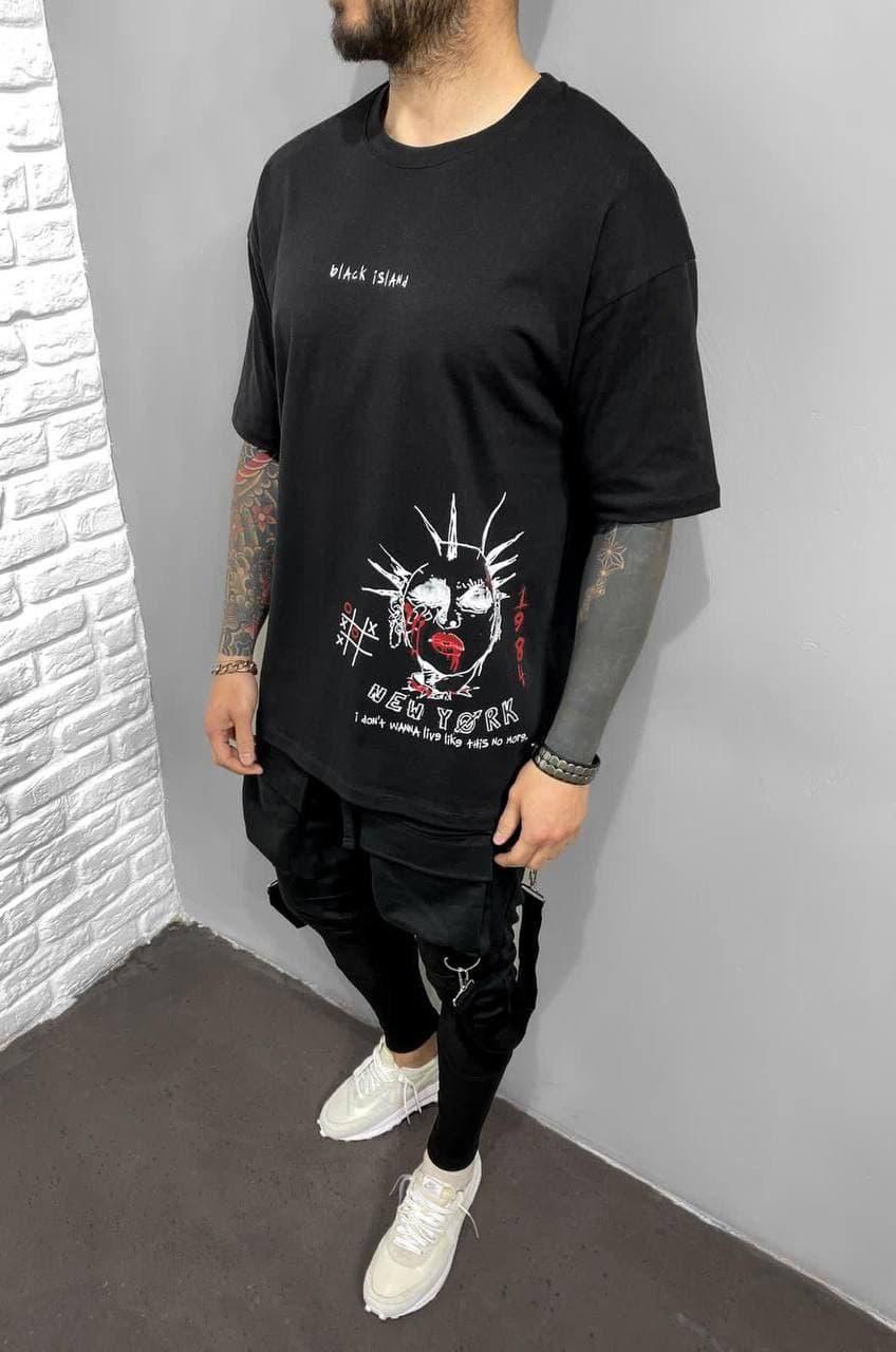 Мужская футболка черного цвета с принтом oversize