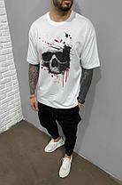 Мужская футболка белого цвета oversize с черепом, фото 2