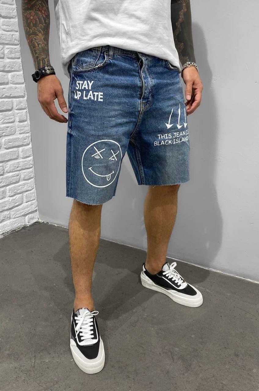 Мужские джинсовые шорты МОМ синие расписанные