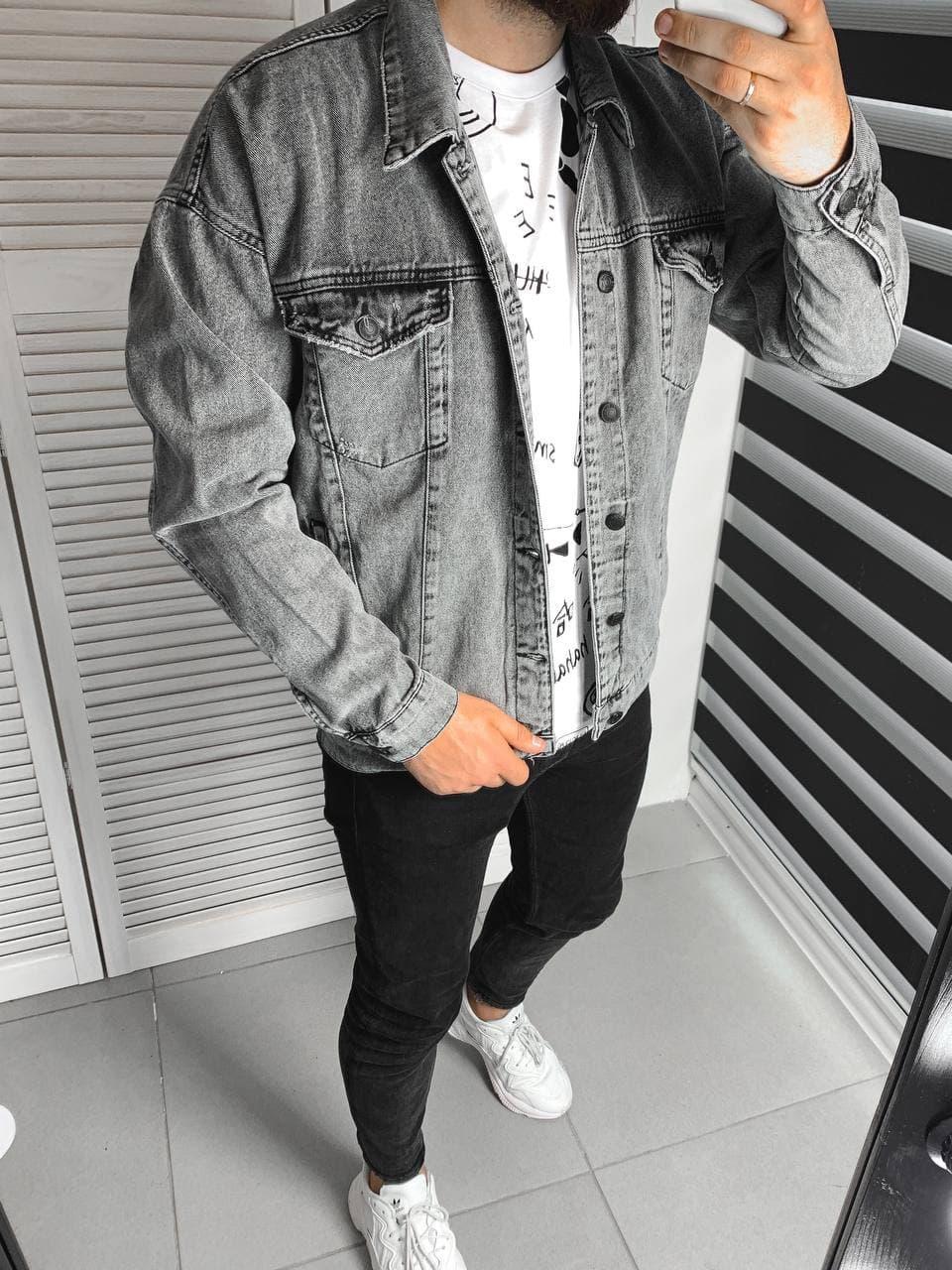 Джинсовка мужская серого цвета