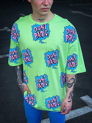 Чоловіча футболка салатового кольору oversize, фото 2