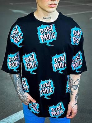 Мужская футболка черного цвета oversize, фото 2