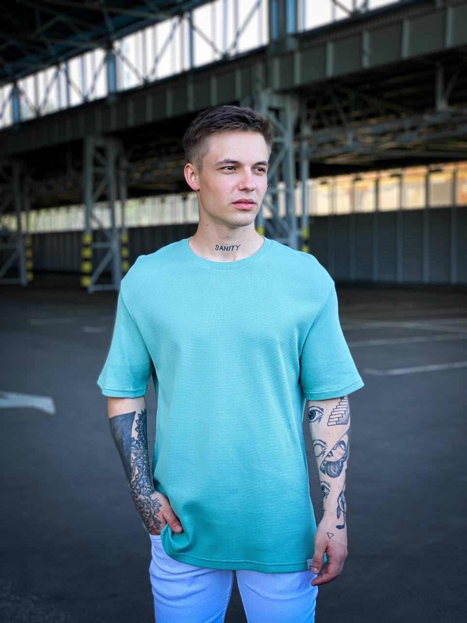 Чоловіча футболка м'ятного кольору oversize