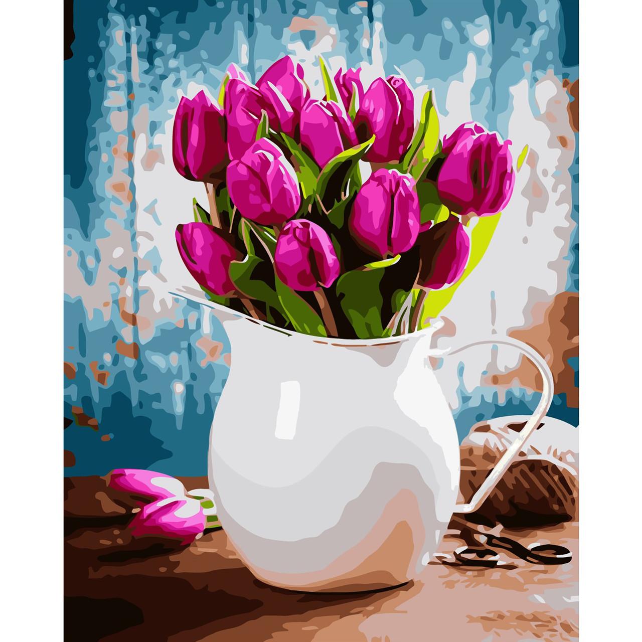 """Картина за номерами VA-1945 """"Глечик з фіолетовими тюльпанами"""", розміром 40х50 см в коробці"""