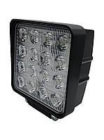 Фара LED квадратная 48W, 16 ламп, 110*164мм, широкий луч 12/24V