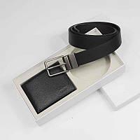 Мужской подарочный набор Кельвин Кляйн кожаный двухсторонний ремень и кошелек портмоне