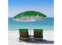 Большой пляжный зонт от солнца, однотонный зеленый, садовой зонтик с наклоном, 1.75 м с доставкой (TS), фото 1