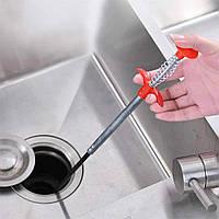 Трос для чищення труб каналізації Cleaning hook №2 60 см, інструмент для прочищення засмічень, гнучкий захоплювач