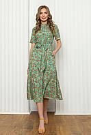 Легке літнє плаття з софта, приталені з коротким рукавом, довжиною міді в квітковий принт. Салатовий колір, фото 1