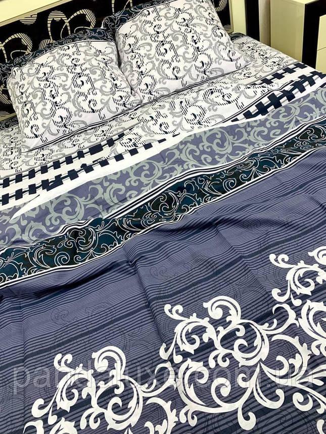 Постільна білизна бязь голд, красивий двоспальний комплект Вензель джинсовий, фото 2