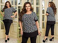 Женский костюм большие размеры батал брюки блуза 50-52, 54-56, 58-60, 62-64 синий, черный
