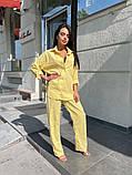 Женский льняной костюм рубашка и брюки желтый розовый, фото 2