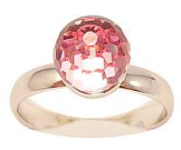 """Кільце ХР Родій з кристалами Swarovski """"Низький куля кристал Rose"""" ø 8мм; р. 17-18, фото 1"""