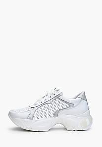 Женские белые кроссовки со серебристыми вставками
