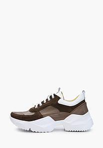Коричневые кожаные кроссовки с замшевыми вставками