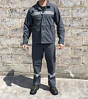 Одежда рабочая костюм х/б серый со светоотражающими полосками
