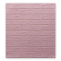 3д панель стіновий декоративний Рожевий Цегла (самоклеючі 3d панелі для стін оригінал) 700x770x5 мм