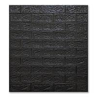 3д панель стіновий декоративний Чорний Цегла (самоклеючі 3d панелі для стін оригінал) 700x770x5 мм