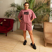 Женский летний костюм шорты короткие футболка трикотаж х/б размер: 46-50, 52-56 ОПТ/ДШ