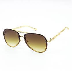 Солнцезащитные очки SumWin 1767 капля C2 золото мет. коричневый градиент