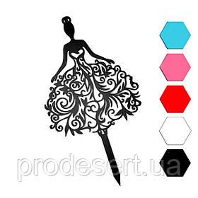 Девушка в платье топпер для торта 22*12 см (3D)