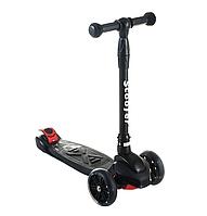 Scooter детский трехколесный самокат с ручным тормозом и светящимися колесами (черный)