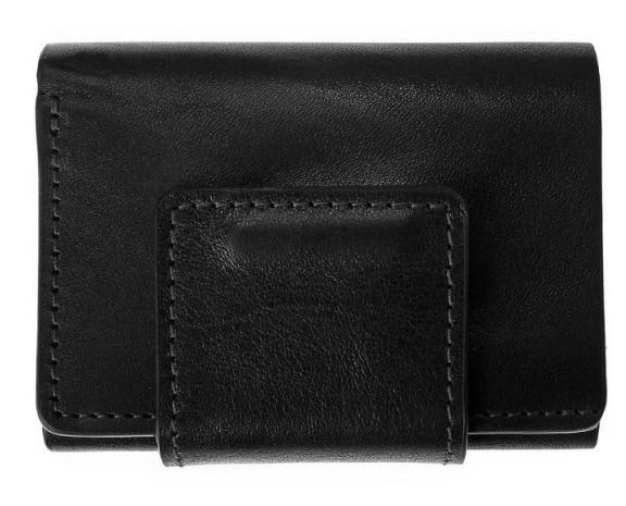 Мужской кошелек на магните Grande Pelle, черное кожаное портмоне с отделениями для кредитных карточек