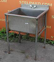 Моечная ванна 1-секционная на металл. основе, из нержавеющей стали, 60х60х85 см., Б/у
