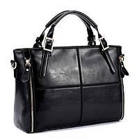 Модная женская сумка. Сумка шоппер женская прямоугольная вместительная (черная)