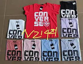 Модна жіноча футболка з написом 42-46 (в кольорах)