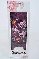 Полотенце махровое подарочное 50х90см Сакура с вышевкой Фиолетовое