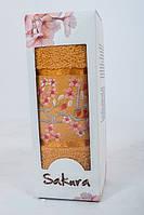 Полотенце махровое подарочное 50х90см Сакура с вышевкой Оранжевое
