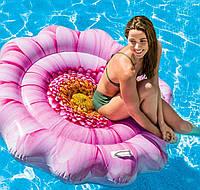 Пляжная надувная платформа-матрас Intex 58787 «Розовый Цветок», 142*142 см