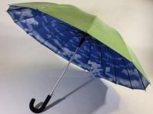 Зонт трость  женская полуавтомат 16 спиц с облаками под куполом цвет салатовый
