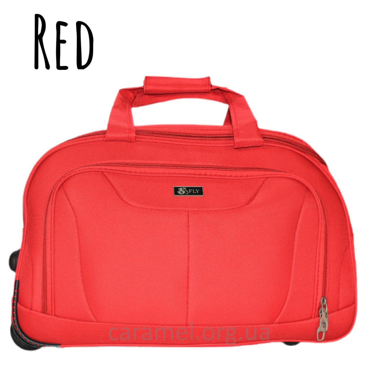 Тканинна Сумка на 2х колесах середня M червона | 60х34х35 см | 2.400 кг | 79 л | FLY 2611
