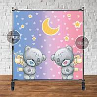 """Банер на Водохреща 2х2 м """"Ведмедики хлопчик і дівчинка"""" для двійні - Фотозона (вініловий)"""