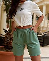 Жіночі трикотажні шорти вільного крою з завищеною талією, фото 1