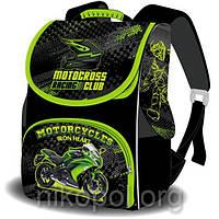 """Рюкзак школьный """"SPACE - Зеленый мотоцикл"""", ортопедический, коробка 33х26х17см."""