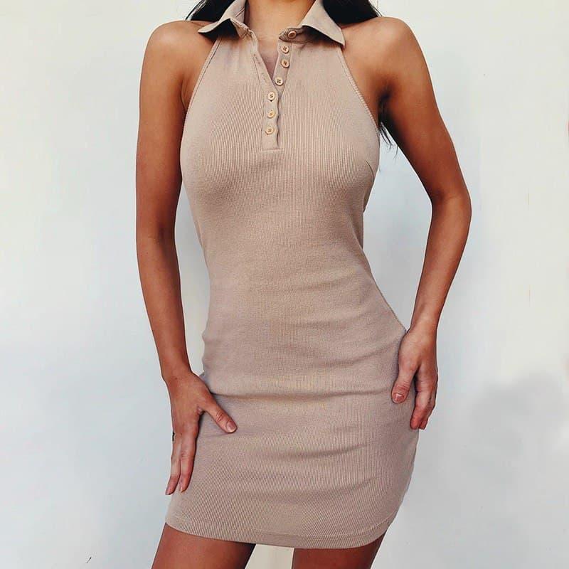 Трикотажне плаття поло з рубашечным коміром і без рукава, спинка відкрита (р. 42-44) 68032627